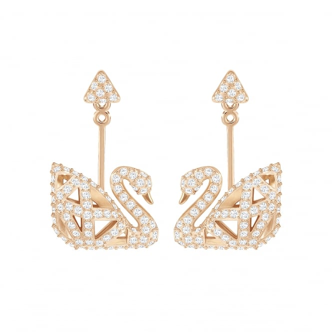 Swarovski Facet Swan Pierced Earrings in Crystal and Rose Gold