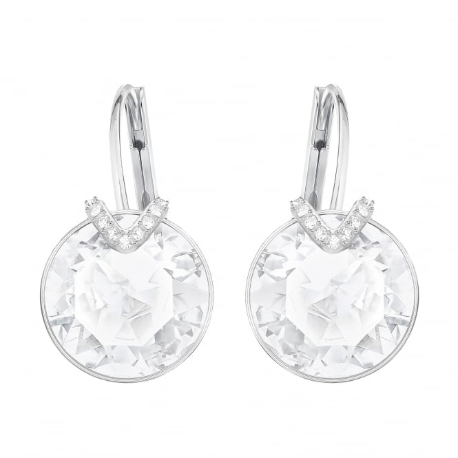 Swarovski Bella Large Pierced Earrings in Silver and White