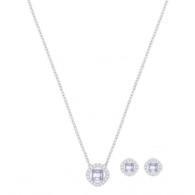 Swarovski Angelic Square Set in Silver and Blue