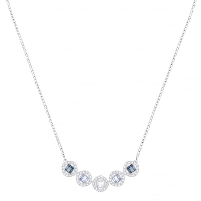 Swarovski Angelic Square Necklace in Blue with Rhodium Plate
