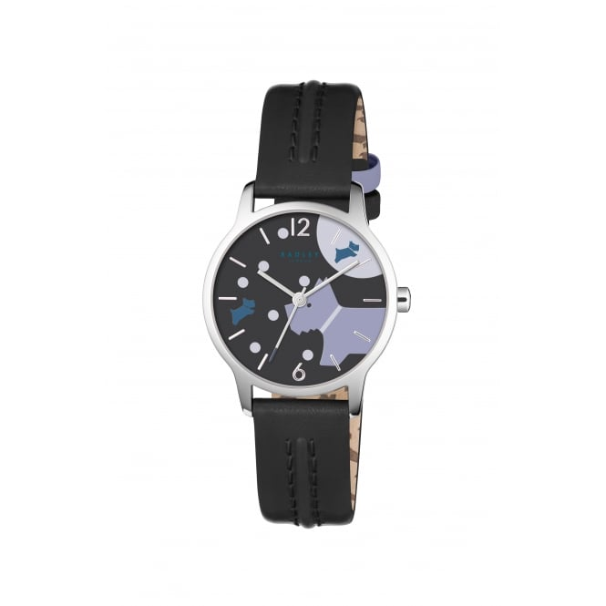 Radley Over The Moon Black Leather Strap Watch