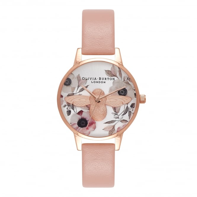 Olivia Burton Midi Floral Bee Pink And Rose Gold Watch
