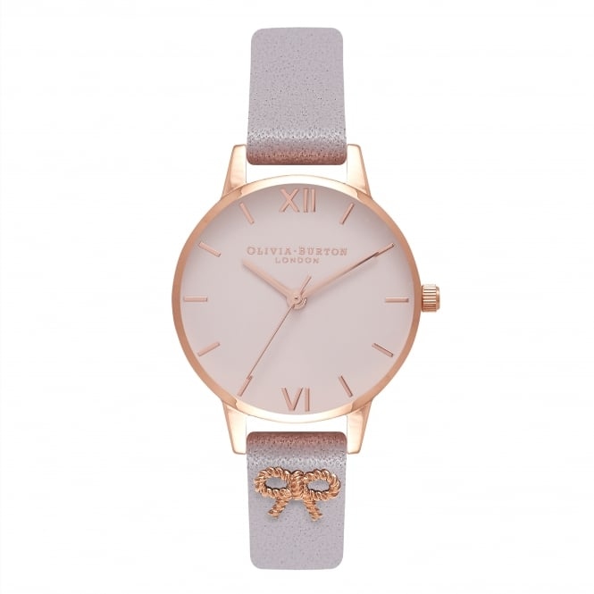 Olivia Burton Vintage Bow Grey Lilac And Rose Gold Watch