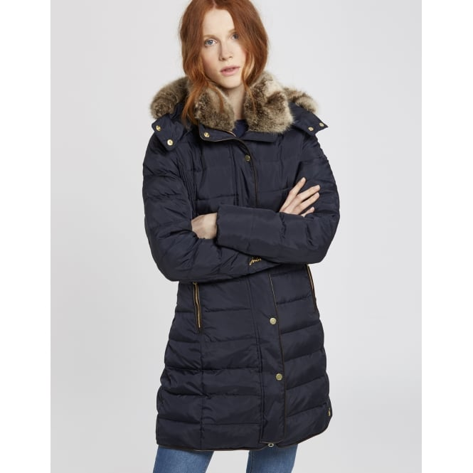 Joules Ladies Caldecott Coat With Fur Hood