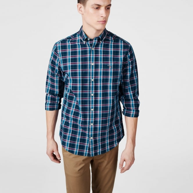 Gant Men's Indigo Broadcloth Check Shirt