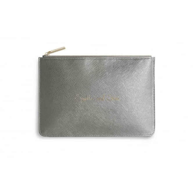 Katie Loxton Sparkle And Shine Perfect Pouch in Metallic Grey