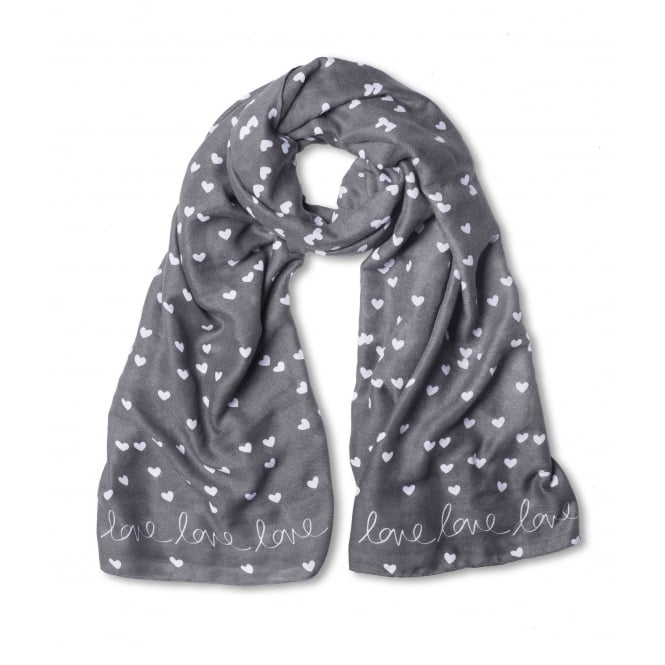 Katie Loxton Slate Grey Love Love Love Sentiment Scarf
