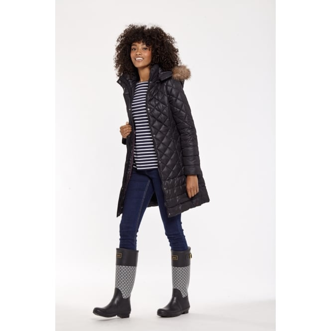 Joules Ladies Snowshill Coat With Fur Hood