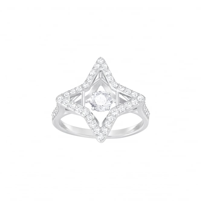 Swarovski Sparkling Dance Star Ring, White, Rhodium Plating