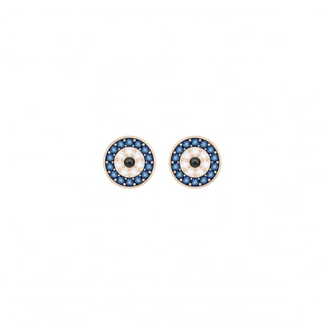 Swarovski Crystal Wishes Evil Eye Pierced Earrings, Multi-colored, Rose gold