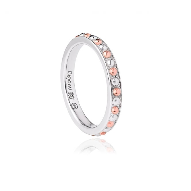 Clogau SILVER BEADED STACKING RING
