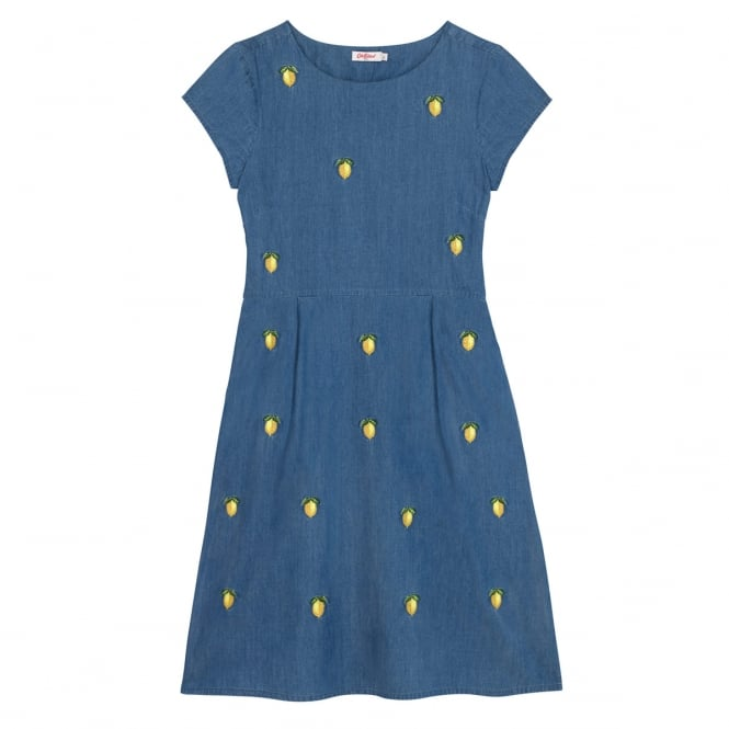 Cath Kidston Chambray Dress With Lemon Embroidery in Size 14