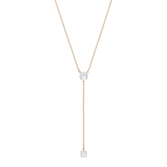 Swarovski Attract 'Y' Necklace with Round Clear Crystals and Rose Gold Plate