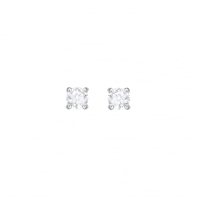 Swarovski Attract Pierced Stud Earrings in Clear Crystal and Rhodium Plate
