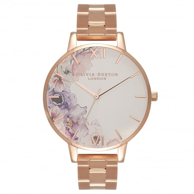 Olivia Burton Watercolour Florals Silver & Rose Gold Watch
