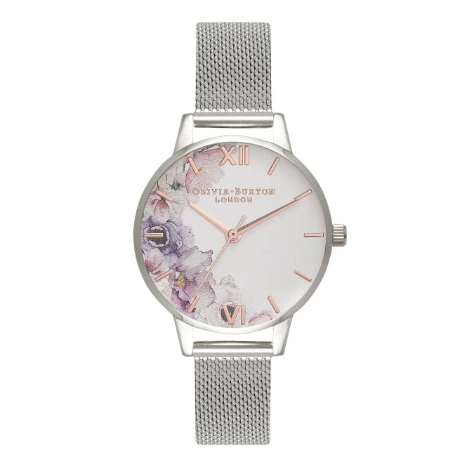 Olivia Burton Midi Dial Watercolor Silver Mesh Watch