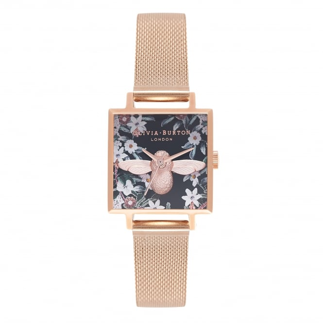 Olivia Burton Square Dial Bejewelled Bee Watch