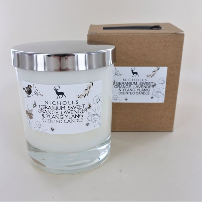 Nicholls Fragrance Small Natural Wax Lidded Candle- Geranium, Orange, Lavender and Ylang Ylang