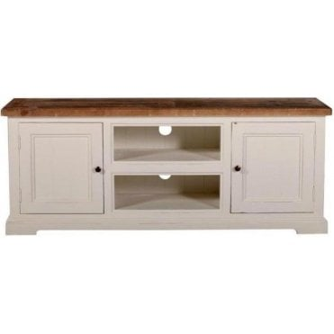 Farmhouse TV Unit with 2 Doors and Shelf