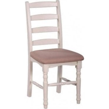 Farmhouse Horizontal Slat Dining Chair with Fabric Seat