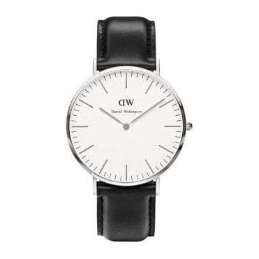 Gents Sheffield Silver Black Leather Strap Watch 0206DW