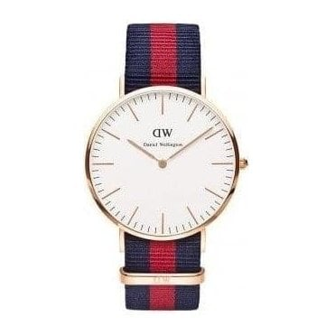 Gents Oxford Rose Gold Navy/Red Nato Strap Watch 0101DW