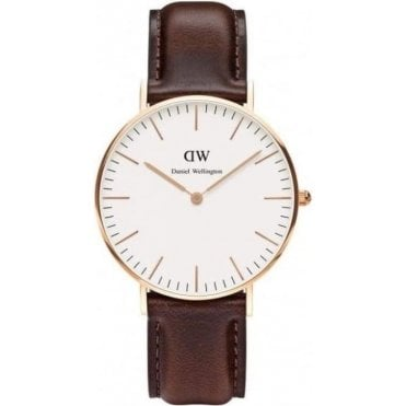 Bristol Rose Gold Brown Leather Strap Watch 0109DW