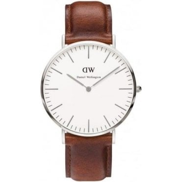 Gents St Mawes Silver Brown Leather Watch 0207DW
