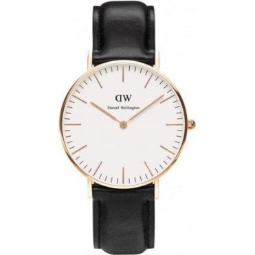 Ladies Sheffield Rose Gold Black Leather Watch 0508DW