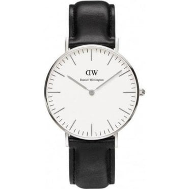 Ladies Sheffield Silver Black Leather Watch 0608DW