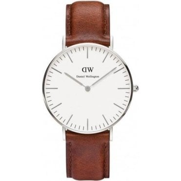 Ladies St Mawes Silver Brown Leather Watch 0607DW