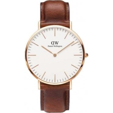St Mawes Rose Gold Brown Leather Strap Watch