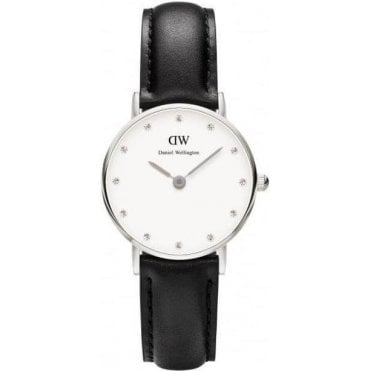 Ladies Sheffield Classy Silver Black Leather Strap Watch 0921DW