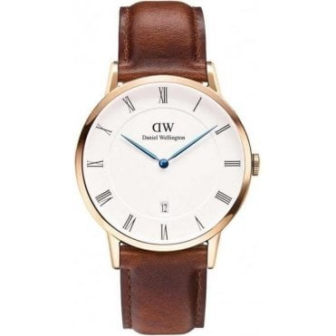Dapper Gents St Mawes Rose Gold Case Brown Leather Strap Watch 1100DW