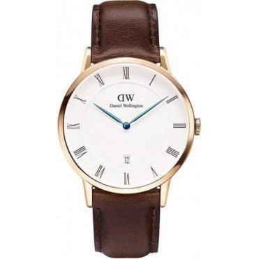 Dapper Gents Bristol Rose Gold Brown Leather Strap Watch 1103DW