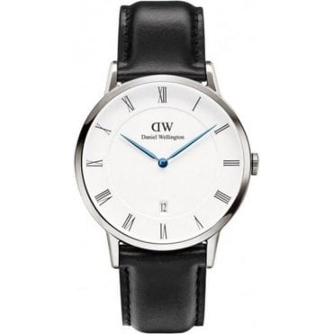 Dapper Gents Sheffield Silver Black Leather Strap Watch 1121DW