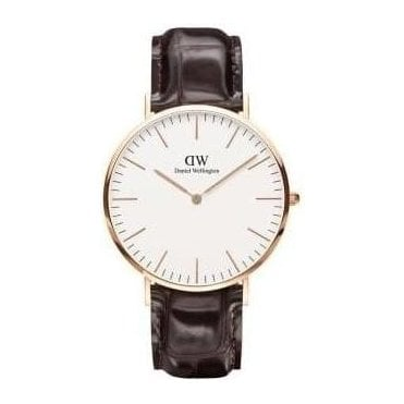 York Rose Gold Brown Leather Strap Watch 0111DW