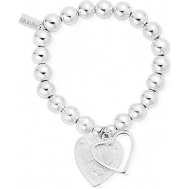 Iconic Silver Medium Ball Open Heart Bracelet