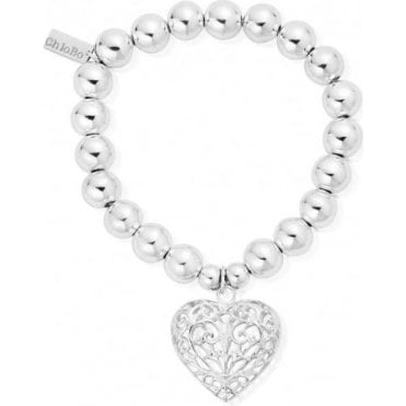 Iconic Silver Medium Ball Large Filigree Heart Charm Bracelet
