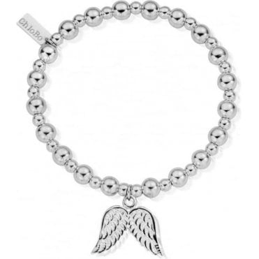 Iconic Silver Mini Small Ball Double Angel Wings Bracelet