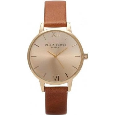 Midi Dial Tan and Gold Watch