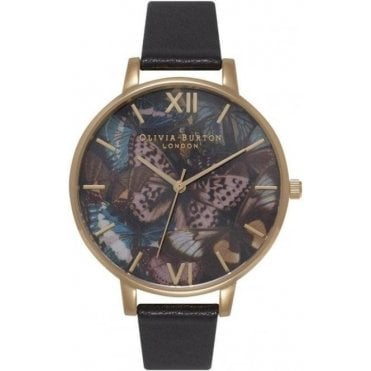 Woodland Multi Butterfly Black and Gold Watch