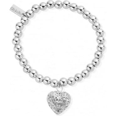 Small Ball Filigree Heart Bracelet SBSB050
