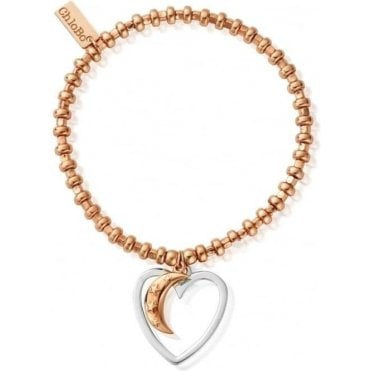 Rose Gold Hoop Open Heart And Star Moon Bracelet RBH33783