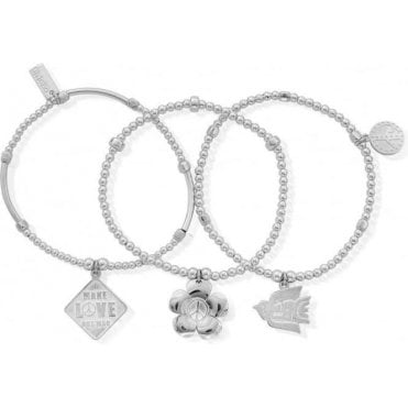 Set Of 3 Peace Bracelets SBSTA3P
