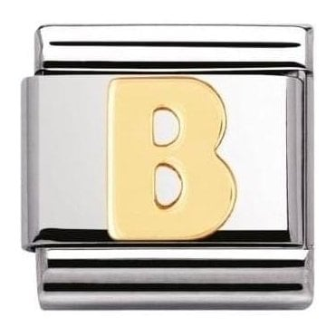 Stainless Steel And 18K Gold Composable Letters -B
