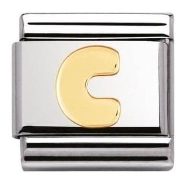 Stainless Steel And 18K Gold Composable Letters - C