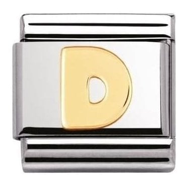 Stainless Steel And 18K Gold Composable Letters -D