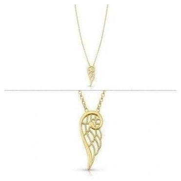 Angel Necklace In Sterling Silver (Small) (012_Yellow Gold)