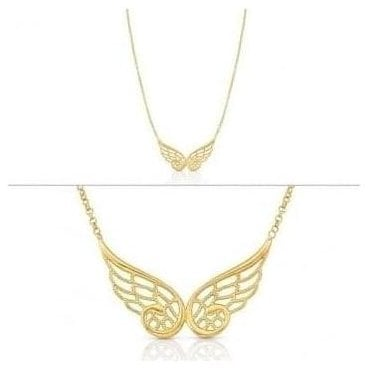 Angel Necklace In Sterling Silver (Double) (012_Yellow Gold)
